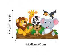 R00145 Adesivo murale per bambini Wall Art - Animaletti chiacchieroni - Misure 100x30 cm - Decorazione parete, adesivi per muro, carta da parati