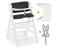 Hauck Beta Plus | Seggiolone evolutivo legno con vassoio, cintura, cuscino e rotelle | Hauck Seggiolone Pappa con altezza regolabile, portata fino a 90 kg | Grigio scuro bianco