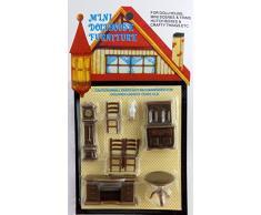 Melody Jane casa delle bambole 4 PICCOLA MOGANO SGABELLI MINIATURA 1:12 mobili in scala