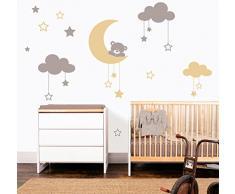 MYVINILO - adesivi murali per bambini - Moon bear / argento / beige (190 x 155 cm)