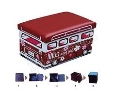 Puff contenitore poggiapiedi - Porta giocattoli per cameretta Bimbo Bimba - Sgabello con coperchio cm 48x33x33 - Autobus Love