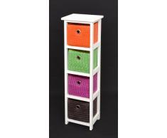 Cassettone/comodino bianco - con 4 panieri in arancio viola verde marrone - per il bagno, ufficio, corridoio, sala dei bambini