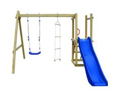 mewmewcat Casa Giochi per Bambini con Scivolo Altalena Scala da Giardino Esterno in Legno Massello di Pino Impregnato FSC 242x237x175cm