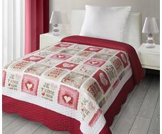 Eurofirany CHON/D/P/Love/02 Patchwork Copriletto love02 per bambini, Microfibra, rosso, 210 x 170 x 2 cm