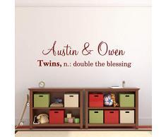 N/ A Double The Blessing Wall Decal, Decorazione personalizzata per camera da letto gemelli, scritta in vinile, personalizzabile