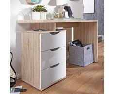 FineBuy Scrivania Ufficio Sonoma/Bianco 120x76x53 cm Legno Tavolo con Cassetti | Scrivania PC Cameretta Moderno | Design Scrivania