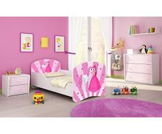 Letto per bambino Cameretta per bambino con materasso Cassetto ACMA I (08 La principessa con il pony, 140x70)
