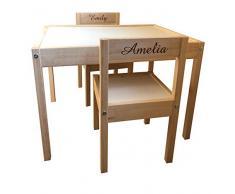 Personalizzato per bambini Kids Ikea tavolo e sedie 2 nomi Engraving Back