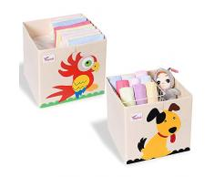 SITAKE 2 PCS Scatola Pieghevole Organizer Giocattoli - Toy Chest Portatutto - Contenitore Giochi Bambini - Scatola Portagiochi Bambini (33 x 33 x 33 cm, Cane e Pappagallo)
