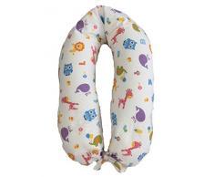 Merrymama Cuscino allattamento e gravidanza + fodera con lacci/cm 190 (imbottito in pula di farro bio), Zoo Sfondo Bianco