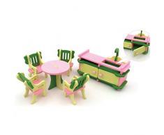 Simulazione Mobili Tavolo Bambola Giocattolo Puzzle di legno Giocattoli Educativi Pretend Playset Simula casa Giocattoli per bambini (Cucina, 6Pcs)