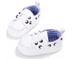 Koly_Bambino appena nato in pelle Culla morbida suola scarpe da ginnastica (Age:0~6 Month, Bianca)