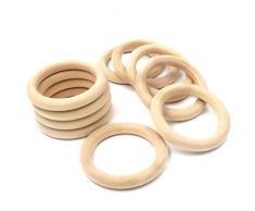 Coskiss Bambino di dentizione 10Pcs di legno di legno anello 1,96 pollici Diametro esterno (50mm), anelli di dentizione, anello Lanciare giochi e altro ancora (in legno di colore 10pcs)