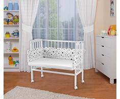 WALDIN Baby,Lettino culla,altezza regolabile,paracolpi e materasso,in 16 varianti, Superficie d'appoggio EXTRA lung. 90 x larg. 55 cm,bianco laccato,stella/mix