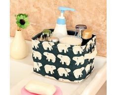 Westeng, cesto contenitore in tessuto spesso di cotone, organizer a cubo da scrivania per cosmetici, giocattoli, piccoli oggetti, con motivo a cartone animato, Cotone lino, Blue, medium