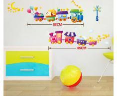 ufengke® Cartone Animato Trenino Adesivi Murali, Camera Dei Bambini Vivai Adesivi da Parete Removibili/Stickers Murali/Decorazione Murale