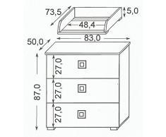 Como, cassetiera in legno con fasciatoio rimovibile per la cameretta bambini COMO 06. Misure: 83cm x 73,50cm x 92cm altezza.