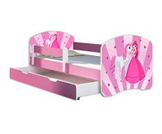 Letto per bambino Cameretta per bambino con materasso Cassetto ACMA II ROSA (08 La principessa con il pony, 140 x 70 cm + Cassetto)