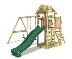 WICKEY Parco giochi in legno MultiFlyer tetto in legno, Giochi da giardino con altalena e scivolo verde, Casetta da gioco per larrampicata con sabbiera e scala di risalita per bambini