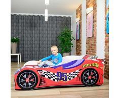 LETTO PER BAMBINI 140X70 CM 160 x 80 CM 180 X 80 CM AUTO CARS + MATERASSO CON FODERA CERTIFICATO ECO LOGO (160 x 80 cm a 8 anni, RED)