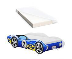 iGLOBAL Letto per bambini Cars, letto per ragazzi con rete a doghe, materasso in schiuma 140 x 70 cm (blu)
