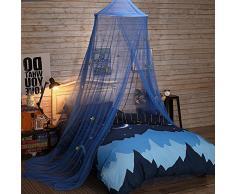 Uarter boho principessa zanzariera a baldacchino Girls zanzariera letto conico tende tenda da gioco per bambini con stelle per bambini, blu