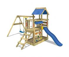 WICKEY Parco giochi in legno TurboFlyer Giochi da giardino con altalena e scivolo blu, Torre darrampicata da esterno con sabbiera e scala di risalita per bambini