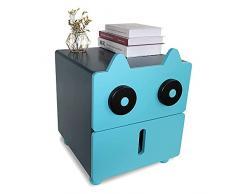 SITAKE Comodini moderni per camera da letto, comodino in stile animale, con 2 cassetti, per camera dei bambini, soggiorno, camera da letto, ufficio (blu)