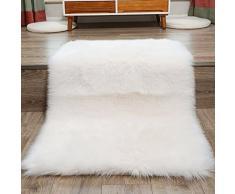 Tappeto in finta pelliccia di agnello/pecora, 60 x 90 cm, morbido, a pelo lungo, per il salotto o la camera da letto, utilizzabile anche come coperta, Poliestere, bianco, 60 x 90 cm
