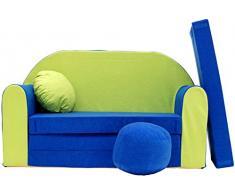 Divano letto con pouf poggiapiedi e cuscino per bambini (N)