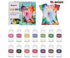 Anpro 160 Pezzi Tie Dye Kit, 14 Coloranti ×100 ml/Bottiglia Tessili Brillanti Tie-Dye, Kit di Materiali per Tintura di Pigmenti Abbigliamento, Adatto per Fai da Te Tie-Dye Art per Bambini e Adulti