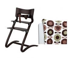 Leander – Sedia in legno di noce – Seggiolone – Sedia per Bambini/Adulti Sedia con il bambino cinghia + Cuscino Brown Apple katving