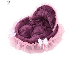 quanjucheer cucciolo di cane gatto morbido pizzo letto, principessa Bowknot Doghouse caldo basket letto cuscino per Pet