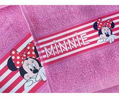 Minnie Mouse Set 2 Pezzi Asciugamano 55 x 100 + Ospite 30 x 50 Disney Minnie topolina Asciugamani 100% Spugna di Puro Cotone