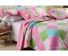 beddingleer cuciture a pois motivo floreale patchwork copriletto trapunta per ragazze, bambini 2 pezzi