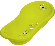 OKT Kids Funny Farm - Set di accessori da bagno per neonati: vasca per il bagnetto (misura XXL), seggiolino per vasca da bagno, vasino, riduttore per WC, sgabello e pattumiera per pannolini, colore: Verde erba