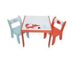 Labebe Mobili Soggiorno Bambini Tavolo & Sedie Set con Lavagna per pittura/Lettura/Gioco di Gruppo in Classe e Casa, regalo creativo per i piccoli 1-5 Anni -Volpe Bianco