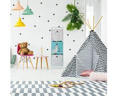 Relaxdays Scaffale per Giocattoli con 3 Scatole, per Bambini & Bambine Design-Lama Armadio 89x27,5x30 cm, Multicolore, Vello, Ferro, plastica, 89 x 27,5 x 30 cm