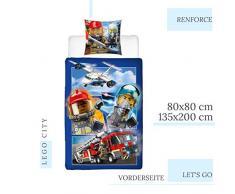 Character World Lego Biancheria da Letto per Bambini della Polizia e dei Vigili del Fuoco – Federa 80 x 80 + Copripiumino 135 x 200 cm – 100% Cotone