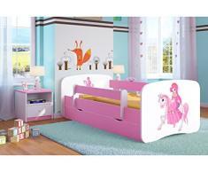 Bjird Letto per Bambini Singolo Rosa 140x70 160x80 180x80 con sponda anticaduta con barriera con cassettone Estraibile per Ragazza - Principessa sul Cavallino - 70 x 140 cm