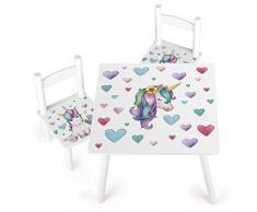 Leomark Tavolo e 2 Sedie in Legno Lettura Tavolino Set Cameretta per Bambini Gioco di Gruppo in Classe Mobili per Bambini Tema: Unicorno