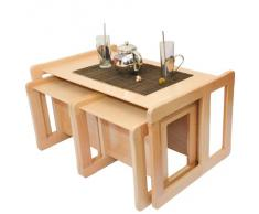 Tris Tavolini Da Caffè Multifunzionali 3 in 1 O Set 3 Pezzi Mobili Multifunzionali Per Bambini, Due Sedie O Tavolini Piccoli E Una Banchina O Tavolino Grande Multifunzionali In Faggio, Lacca Chiaro