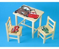 Set in legno tavolino con 2 sedie per cameretta bambini. M6. Ottima idea regalo.Completo in pino con disegno a mano.