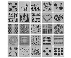 Bullet Journal - Set di 25 stencil in plastica, per mandala, accessori per scrapbooking, stencil da disegno, stencil per bambini e adulti, stencil per progetti tessili, 13 x 13 cm