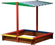 sconosciuto 94.355 FSC - sabbiera con tetto in legno, taglia XL quadrato, sandbox per i bambini all'aperto tetto apribile, 120 x 120 x 125 cm, in legno FSC, colorato