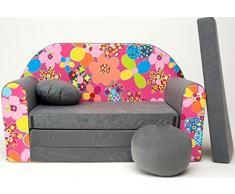 Pro Cosmo A12-Divano Letto futon con Pouf/poggiapiedi/Cuscino, Cotone, Grigio, 168 x 98 x 60 cm