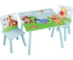 Delta TT89314WP Set Tavolino per bambini con 2 sedie Winnie the Pooh, in MDF, 60 x 60 cm