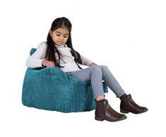 Lounge Pug®, Poltrona Sacco per Bambini, Pouf, Pompon - Egeo Blu