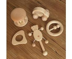 Mamimami Home Giocattolo del bambino Fagottino di legno di Teether 5PC Montessori gioca a ginnastica giocattolo del neonato Giocattolo sensoriale sonaglio neonato Activity Teether Rattle