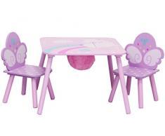 IB-Style - Salottino per bambini UNICORN | 3 combinazioni | 3 pezzi: Set composto da tavolo per bambini, 2 sedie - Set di mobili per bambini con cassapanca